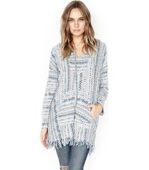 buster hoodie sweater poncho - m/l blue multi