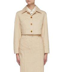 tapered crop denim jacket
