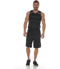 pantaloneta deportiva con pieza contraste gris racketball para hombre
