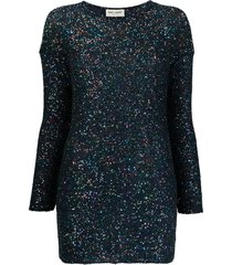 blue shimmer long-sleeve dress