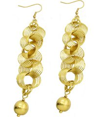 aretes de mujer oro lunghi sinuosi sfera brass colection by vestopazzo