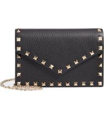 valentino garavani rockstud calfskin leather envelope pouch - black