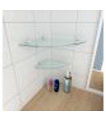 kit com 2 prateleiras para canto de vidro temperado para banheiro 1 de 30 cm e 1 de 20 cm
