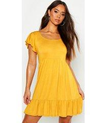 jersey babydoll jurk met franjeszoom, mustard