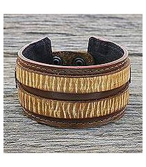 men's leather wristband bracelet, 'genuine charm' (thailand)