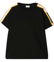 fendi black t-shirt wirh multicolor side bands