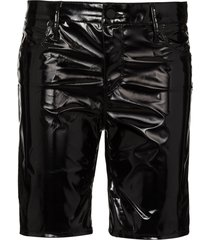 rta high-waist faux-leather shorts - black