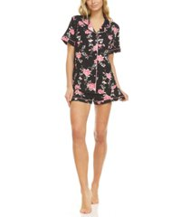 floral by flora nikrooz livia button front top & shorts pajama set