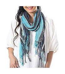 hand woven cotton scarf, 'bangkok stripe in sky' (thailand)