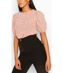 volume sleeve polka dot blouse, blush