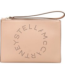 stella mccartney flap zip logo clutch