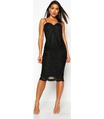 boutique midi jurk met mesh paneel en bandjes, zwart