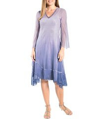 komarov beaded long sleeve cocktail dress, size x-large in grey violet blue ombre at nordstrom