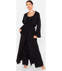 womens best thing's come in 3-pc cami pants and robe set - black