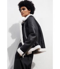 reiss eve - shearling aviator jacket in black/white, womens, size l