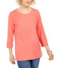 charter club 3/4-sleeve printed top, created for macy's