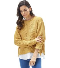 sweater chenille blusa mujer mostaza corona