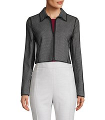printed cotton-blend cropped jacket