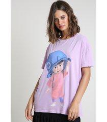 blusa feminina boo monstros s.a. manga curta decote redondo lilás