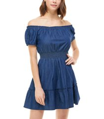 rosie harlow juniors' cotton off-the-shoulder fit & flare dress