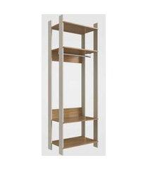closet aberto com prateleiras e cabide off white com itapuá completa móveis