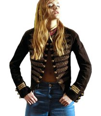 new runway military army jacket black red gold leaf baroque detail button coat