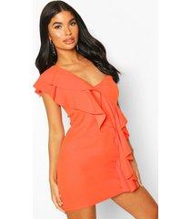 petite one shoulder frill bodycon dress, orange