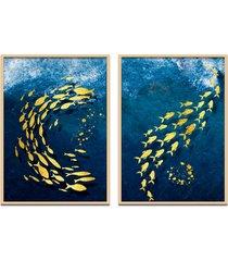 quadro 67x100cm oppen house urak oh2 peixe dourado decorativo moldura natural