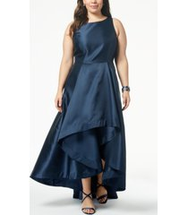adrianna papell plus size high-low mikado gown