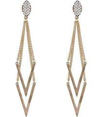 brinco grande armazem rr bijoux cristais e correntes dourado - feminino