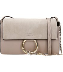 chloé faye small shoulder bag in grey suede and leather