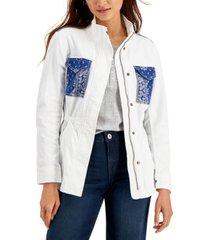 style & co bandana-pocket field jacket, created for macy's
