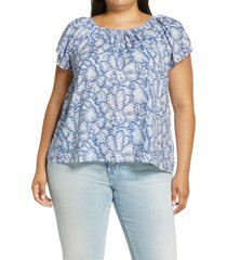 caslon(r) petal sleeve top, size 1x in ivory- blue speckle camo at nordstrom