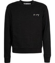 off-white ow logo slim crewneck sweatshirt