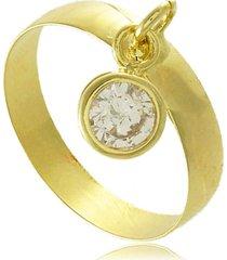 anel com pingente branco em zircônia 3rs semijoias dourado