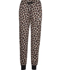 animalier printed cotton fleece pants casual broek beige msgm