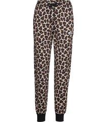 animalier printed cotton fleece pants casual broek beige msgm