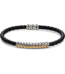 effy men's two-tone & leather bracelet