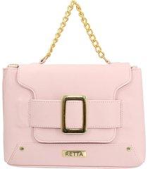 bolsa báu retta shoes com fivela, alça corrente e transversal rosa claro