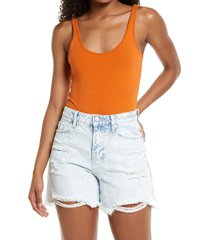 women's bp. double scoop stretch cotton bodysuit, size small - orange