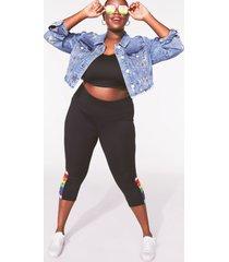 lane bryant women's livi high-rise signature stretch capri legging with macrame detail 38/40 black