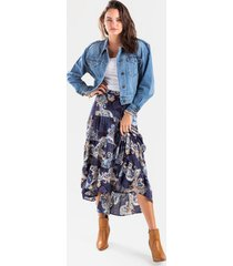 eve tiered paisley maxi skirt - blue