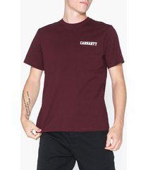 carhartt wip s/s college script t-shirt t-shirts & linnen merlot