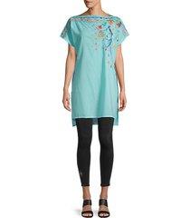 dahlia short-sleeve embroidery tunic