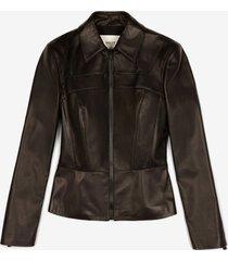 nappa leather peplum jacket black 36