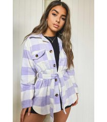 petite flannel belted wool look shacket, lilac