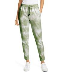 women's nicole miller tie dye print joggers, size x-large - green
