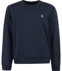 ralph lauren logo embroider ribbed sweatshirt