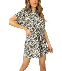 ax paris floral print button up romper
