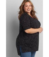 lane bryant women's perfect sleeve v-neck tunic top 26/28 space dye black